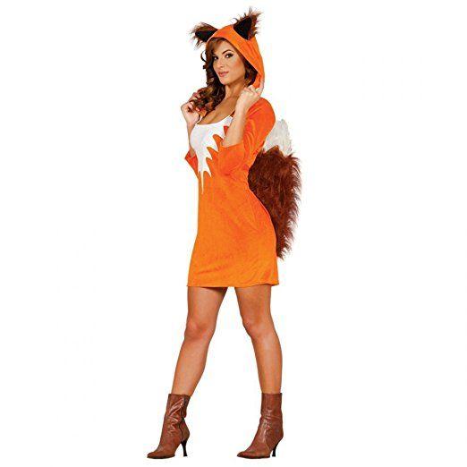 Damen Kostüm Fuchs Gr. S/M Kleid mit Kapuze Tierkostüm Eichhörnchen Tier
