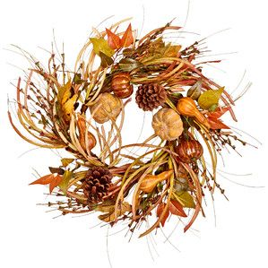 "24"" Gourd, Leaf and Grass Wreath"