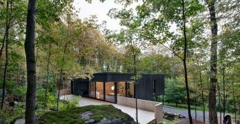 """La casa de la """"roca"""" se esconde entre los arboles de arce del bosque de Canadá"""