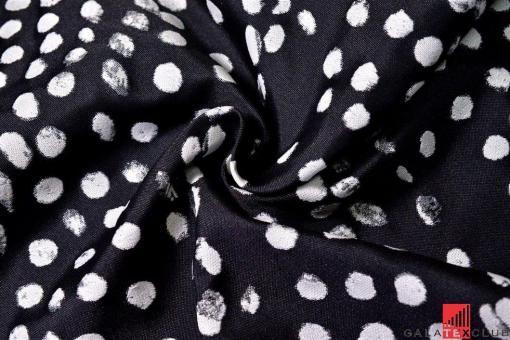 Черная костюмная ткань в белый горошек