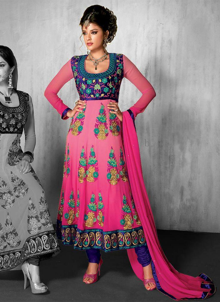 #Pink #Georgette #AnkleLength #Anarkali #Suit