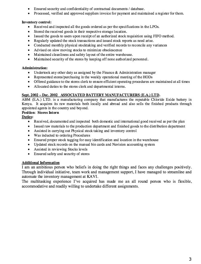 implemented on the job application technician resume sample resume - logistics clerk job description