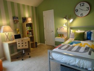 transitional model home eclectic bedroom