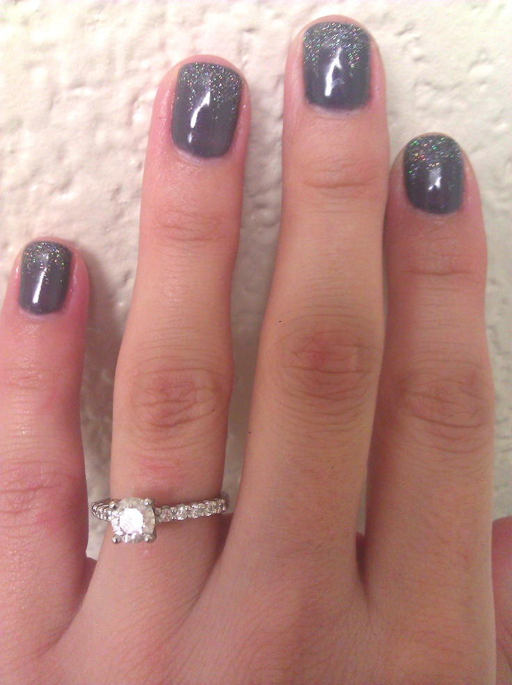 Nails done with Gelish/Harmony product..gray as the base coat and glitter on tips blended with a toothpick!!