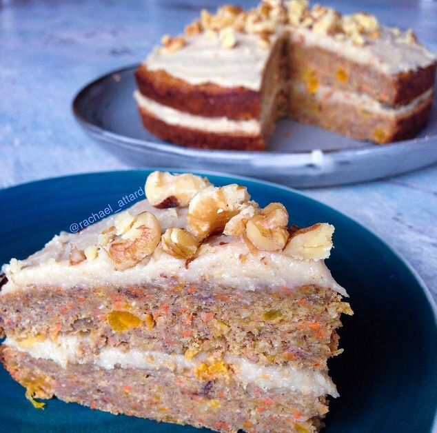 Carrot cake with cashew cream frosting