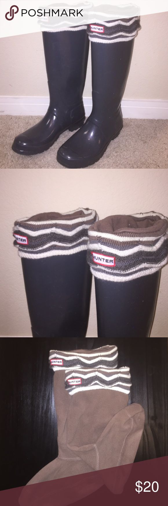 Chevron Hunter Boot Liners Brown chevron hunter boot liners. Only worn once in really good condition. Size ML (8-10 shoe) Hunter Boots Shoes Winter & Rain Boots
