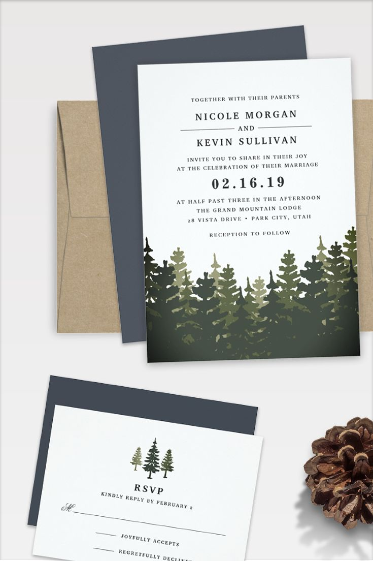 Elegant rustic wedding invitations for winter, mountain or forest settings feature a lush grove of pine trees in shades of hunter green. by @redwoodandvine exclusively for @zazzle
