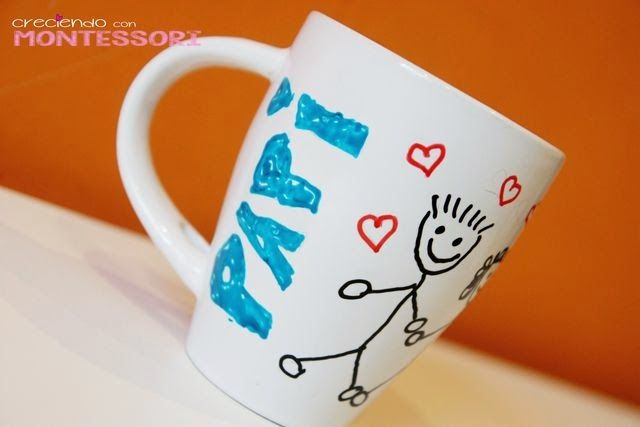 Día del padre - Taza de cerámica para pintar - Creciendo con Montessori