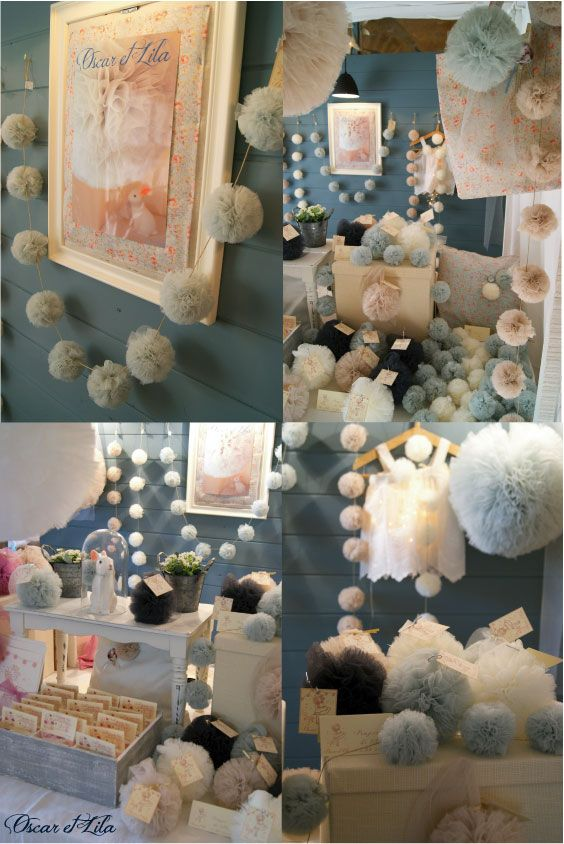 Gorgeous garland tulle pom poms! Thinking of making these to hang down the arbor.