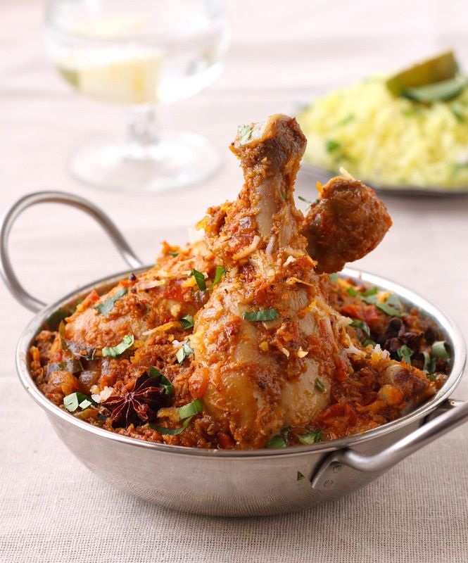 chettinad chicken. slow-cooked  chicken in a concoction of freshly ground, fiery masala in its own juices
