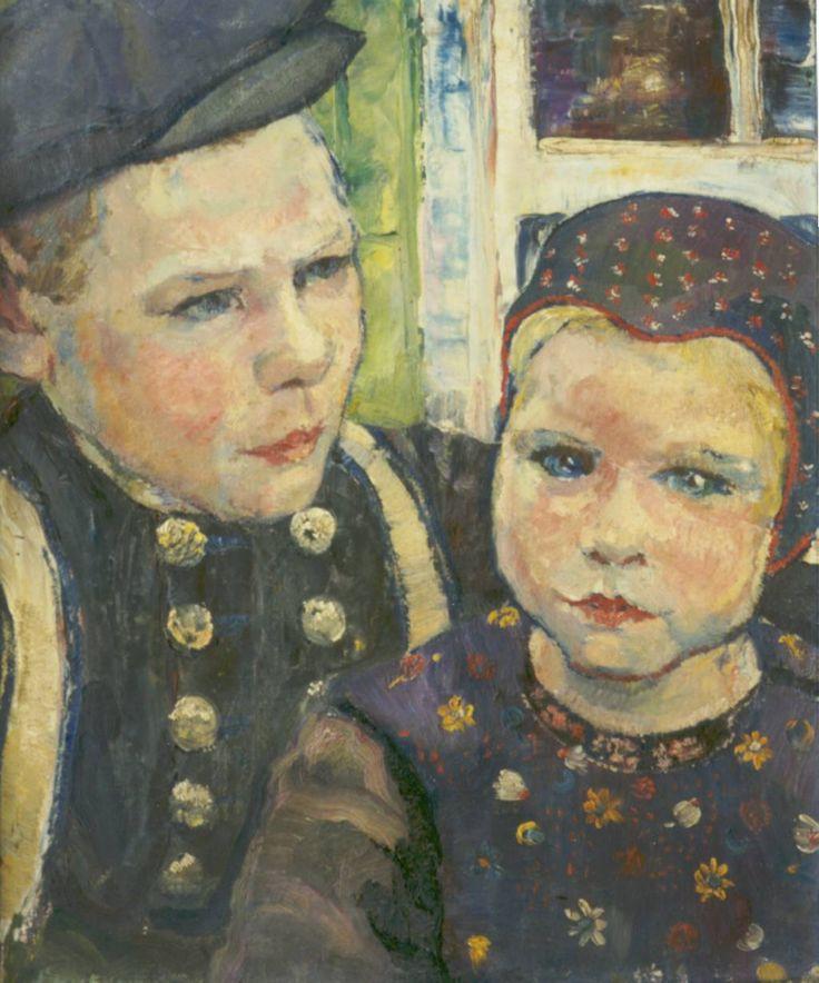 """Stien Eelsingh   -  """"Twee Staphorster kinderen"""", olieverf op doek, 1935"""