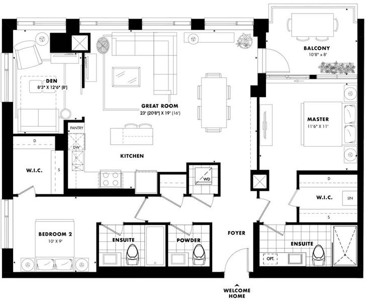 Sussex suite design- 2 bedroom with den. Approx. 1,259 sq. ft. Only one left.