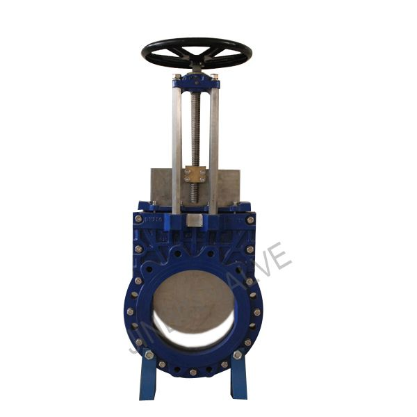 Cast iron Knife gate valve from Tianjin Tanggu Jinbin Valve Co., ltd, Brand:Jinbin Valve;Model:PZ43X-10/16;Standard or Nonstandard:Standard; Structure:Shutoff; Pressure:Low Pressure; Power:Manual; Material:Casting;