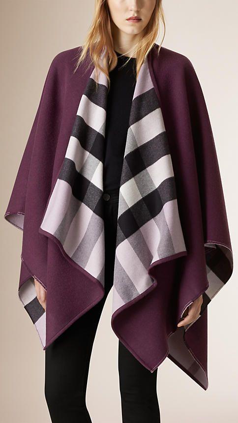 Roxo regência Poncho de lã com forro xadrez - Imagem 1