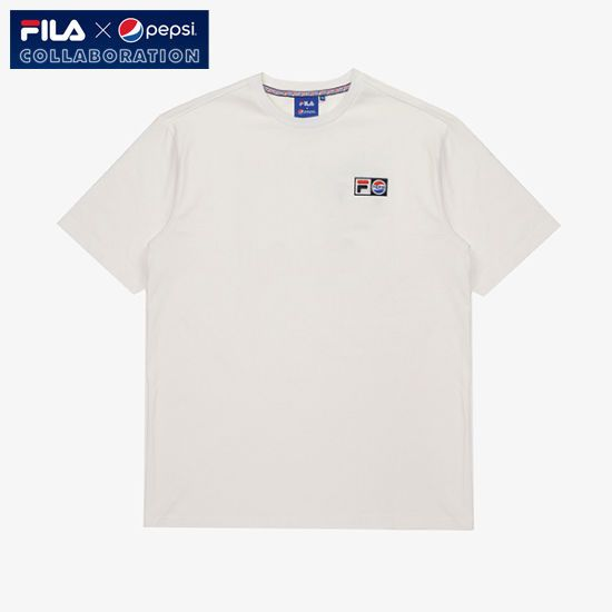 [Fila X Pepsi] Limited Collaboration Pepsi Logo T-shirt Unisex Adult White #FILA #Tshirt
