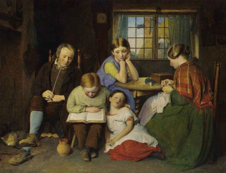 [The Evening Lesson] 1858  Edward Thompson Davis  http://goldenagepaintings.blogspot.com/2008_08_01_archive.html