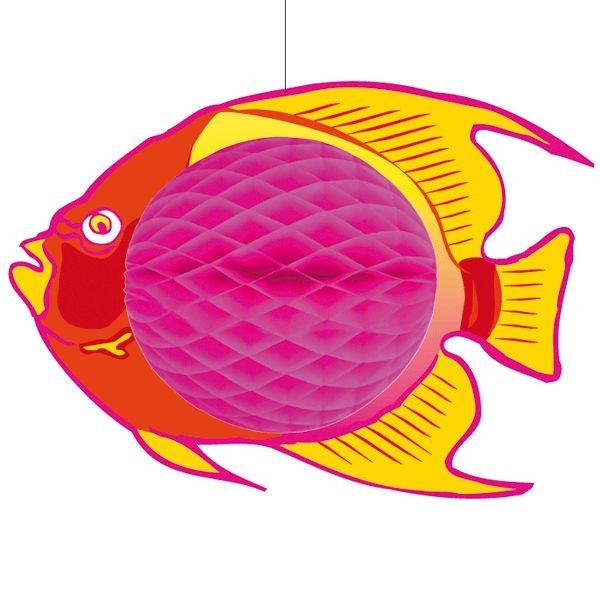 Hangende vis decoratie 28 x 40 cm  Hangdecoratie roze vis 28 x 40 cm. Hangdecoratie van een vis in de kleuren roze met geel. De decoratie vis is gemaakt van brandvertragend papier en karton.  EUR 9.95  Meer informatie