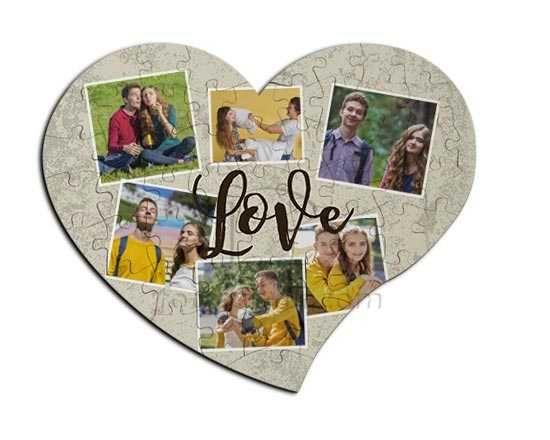 puzzle in masonite a cuore con grafica collage