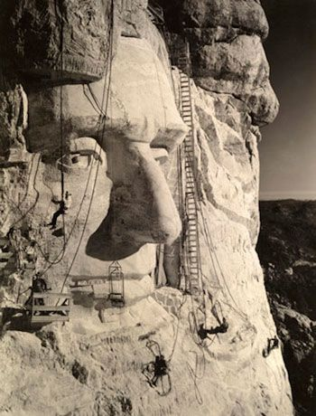 Mount Rushmore, South Dakota. Charles D'Emery's 1938 photo shows the forming of