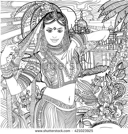 india coloring pages for adults | Coloring pages . India. Indian woman. | Coloring pages ...