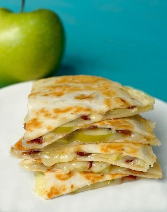Apple, cheddar   bacon quesadillas