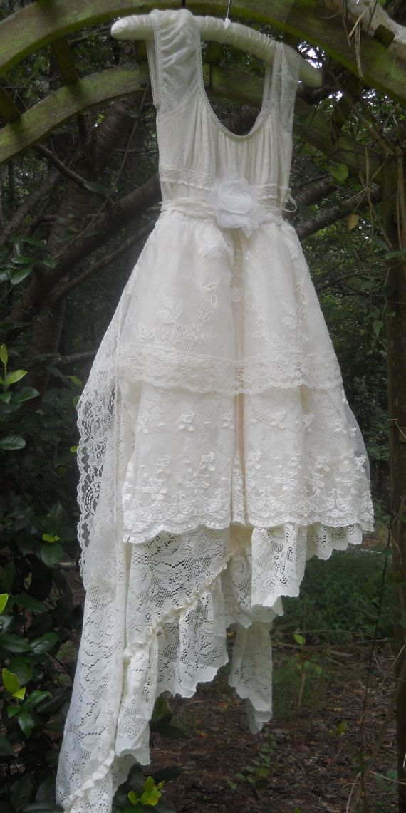 Cream lace dress vintage  lace asymetric   by vintageopulence, $180.00