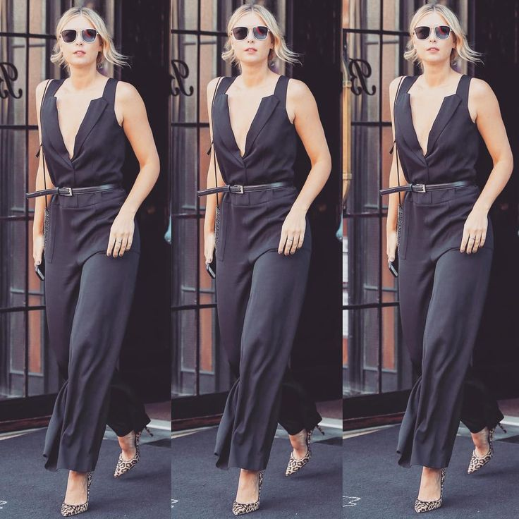 Maria's Instagram: Another day, another black jumpsuit, this time by @verawanggang on my way to her show today.