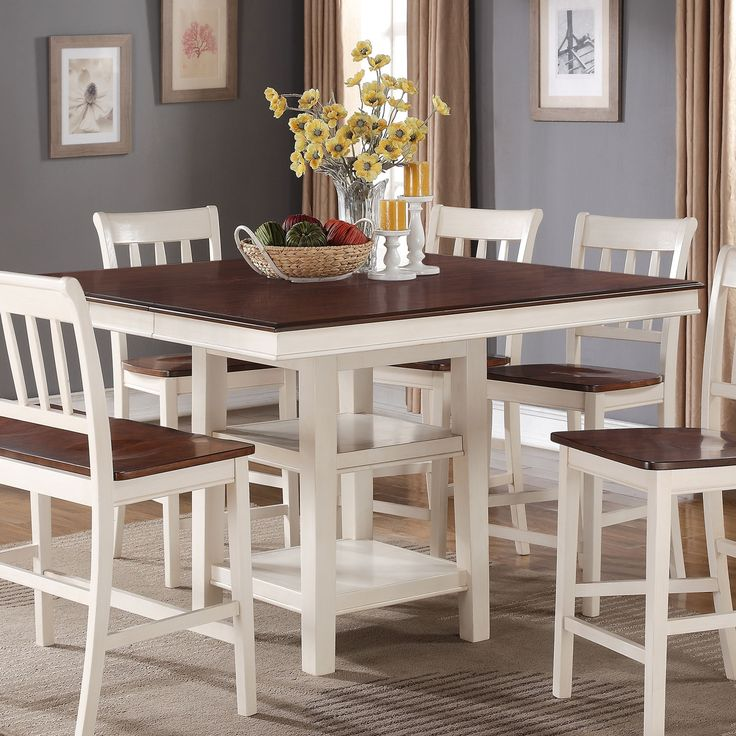 White And Cherry Kitchen Table Antique White Round: Nyla Counter-Height Dining Table