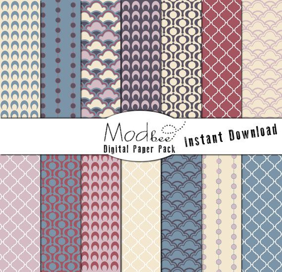 """Digital Paper 14 PACK - Geometric Baby Pink, Baby Yellow, Blue and Red (300 dpi) -- 14 designs - 12"""" by 12"""" (103)"""