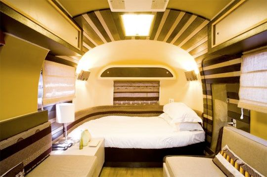 "airstream ""penthouse"" rooms at the grand daddy hotel in cape town, south africa."
