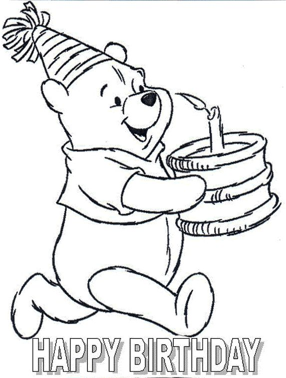 Pooh Birthday Card Coloring Page Birthday Winnie The Pooh