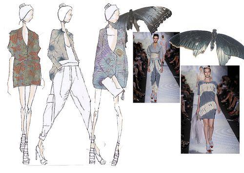 Fashion Sketchbook - butterfly printed fashion design illustrations; fashion portfolio // Amy Vanderwall
