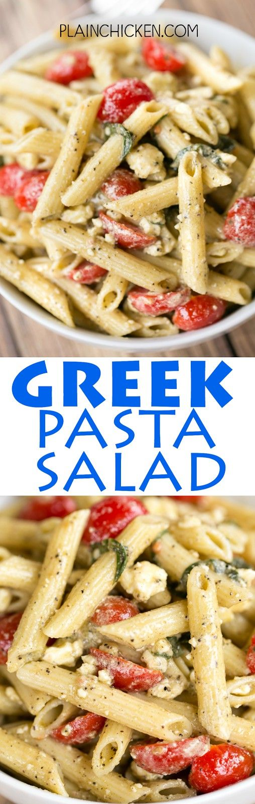 Greek Pasta Salad - seriously THE BEST! I could make a meal out of this pasta salad!!! Penne pasta, olive oil, lemon juice, mayonnaise, Greek seasoning, grape tomatoes, feta and basil. Makes a ton. Great for a potluck. Can easily half the recipe. Easy and (chicken egg noodle soup easy)