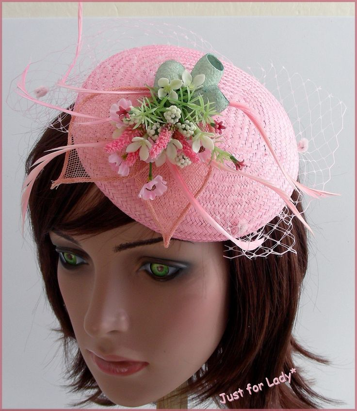 Bibi-Chapeau de Cocktail -- Buntal Rose, Cocons de Soie et petites fleurs - Tons Rose/Vert - Mariages, cérémonies, Cocktails... : Chapeau, bonnet par ladyplazza