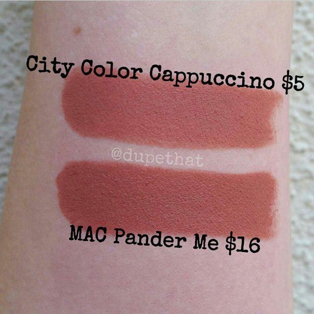 City Color Cosmetics dupes: Mac Pander Me vs. City Color Cappuccino lipstick