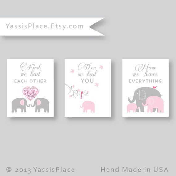 Pink Grey Elephant Nursery Decor Pictures Baby Art Print First We Had Each Other Kid Wall Yi S Place Pinterest
