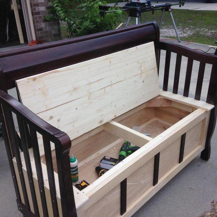 repurposed baby crib into storage bench craftsy