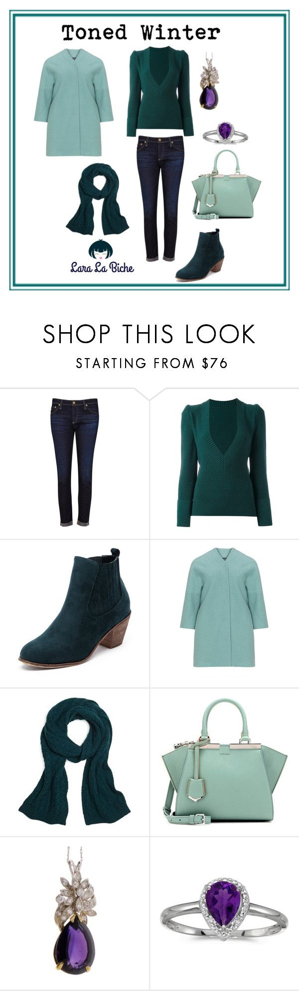 """""""toned winter"""" by laralabiche ❤ liked on Polyvore featuring AG Adriano Goldschmied, Sacai, navabi, Brooks Brothers, Fendi, Diamondsy and BillyTheTree"""