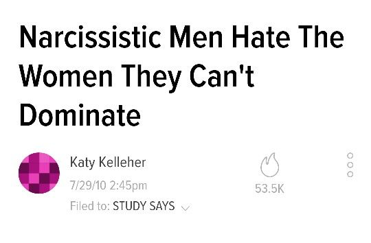 Narcissistic Men Hate The Women They Can't Dominate.                                   ●