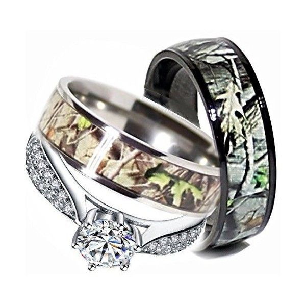 Mens Womens Camo Engagement Wedding Rings Set Silver Titanium Liked On Sterling Silver Wedding Rings Sets Wedding Rings Sets His And Hers Camo Wedding Rings