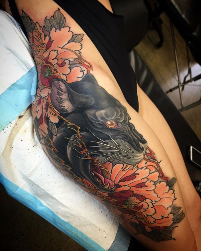 Panther & Peonies on Girls Bum & Hip | Best tattoo ideas & designs