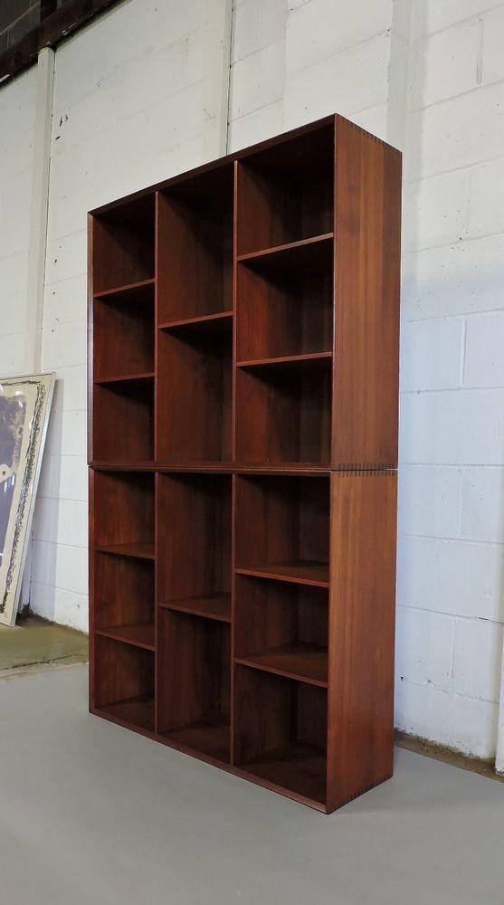 pair of peter hvidt mid century danish modern solid teak bookcases