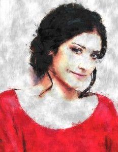 Brunette in red, Women, Girl, Digital painting, sketch