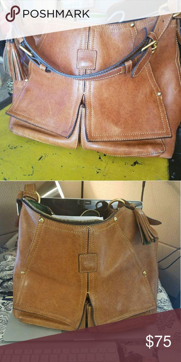 Dooney and Bourke brown leather satchel Cognac leather satchel Dooney & Bourke Bags Satchels