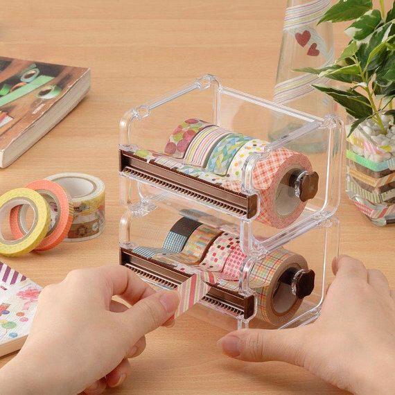 Washi Tape Dispenser Storage Case / Masking Tape Organizer / Tape Holder / Tape Cutter by CharmTape on Etsy https://www.etsy.com/uk/listing/479206775/washi-tape-dispenser-storage-case