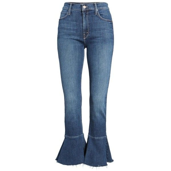 Women's Mother The Cha Cha Fray Flare Crop Jeans (795 ILS) ❤ liked on Polyvore featuring jeans, denim jeans, high waisted flare jeans, blue denim jeans, high-waisted jeans and high-rise flared jeans