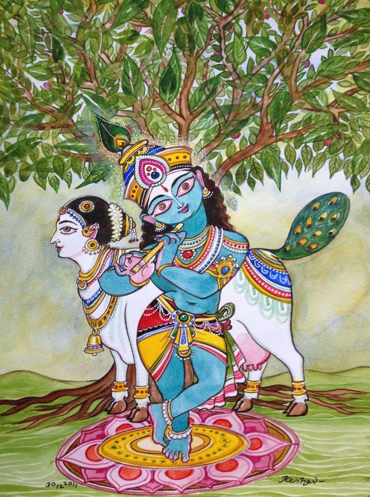 Krishna for today. With kalpavriksha and kamadenu. Watercolour.