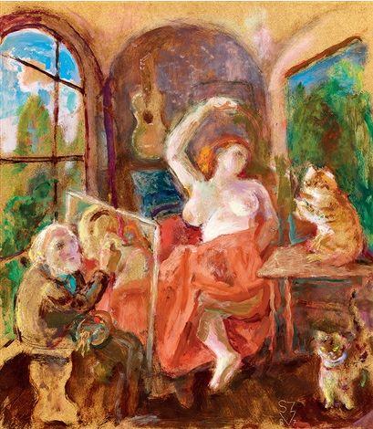 Vladimir Szabó (Hungarian, 1905-1991) - Studio with a Model and Cats