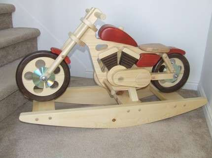 Wooden motorcycle rockers motorcycles toys and trends for Woodworking plan for motorcycle rocker toy