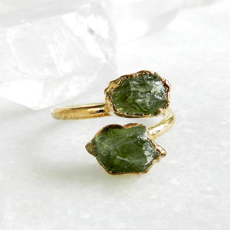 SALE peridot ring, open ring, raw peridot, raw gemstone ring, gold ring, statement ring, boho, gifts for her, birthstone ring, august by jennleeluxe on Etsy https://www.etsy.com/listing/108358346/sale-peridot-ring-open-ring-raw-peridot